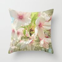 cherry blossom Throw Pillows featuring Cherry Blossom by Cassia Beck