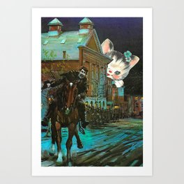 Death is cute kitten handcut collage Art Print