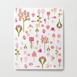 Sweet mod florals - delicate art deco inspired flowers - geometric flowers - pinks Metal Print