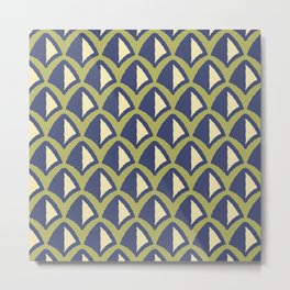 Classic Hollywood Regency Pyramid Pattern 240 Beige Blue and Green Metal Print