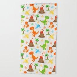 Cute Dinosaurs Nursery Illustration – Jurassic print with T-Rex and Pterodactyl Beach Towel