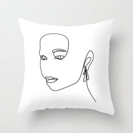 One Line Woman Portrait  Throw Pillow