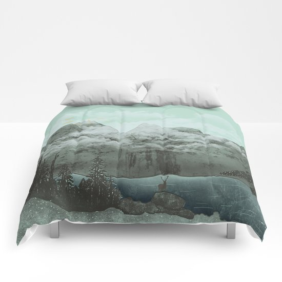 The Mountain Lake (Green) Comforters