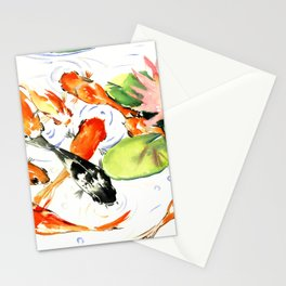Koi Fish Pond, Feng Shui 9 koi fish art Stationery Cards
