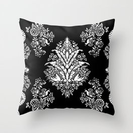 Victorian black and white floral Throw Pillow