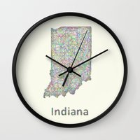 indiana Wall Clocks featuring Indiana map by David Zydd