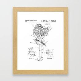 Climbing Anchor Patent - Rock Climber Art - Black And White Framed Art Print