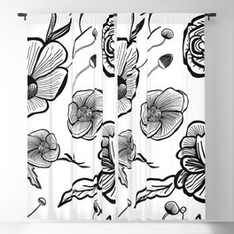 White Out Blooms Hand Drawn Flowers Pattern Blackout Curtain
