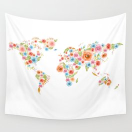 Watercolor Flower World Wall Tapestry