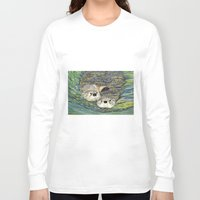 otters Long Sleeve T-shirts featuring Pair of Otters by Sandra Dean Wilson
