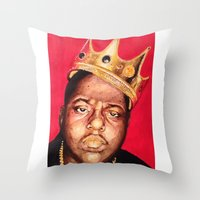 biggie smalls Throw Pillows featuring Biggie Smalls by Danielle Mariah