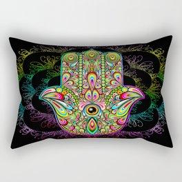 Hamsa Hand Amulet Psychedelic Rectangular Pillow