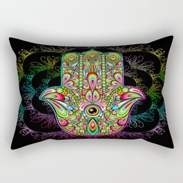 Hamsa Hand Amulet Psychedelic Rectangular Pillow