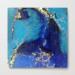 BLUE AND GOLD MARBLE TEXTURE Metal Print