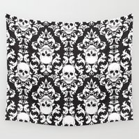 damask Wall Tapestries featuring Skull Damask by Stevyn Llewellyn