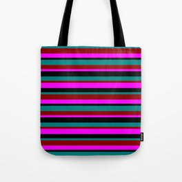 Black, Teal, Dark Red & Magenta Pattern of Stripes Tote Bag