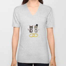 Wedding Cats with Rings Unisex V-Neck