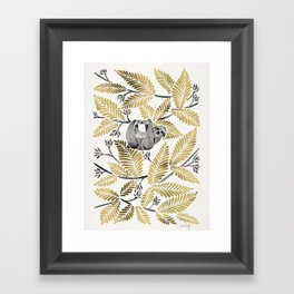 Happy Sloth – Tropical Gold Leaves Framed Art Print