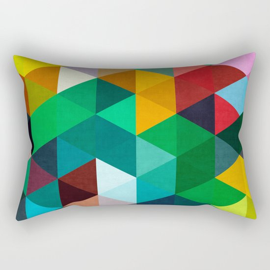 Modern Art Pillow : Modern art of triangles IV Rectangular Pillow by Beautiful Arts Society6