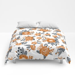 Texas orange and white university texans longhorns college football sports florals Comforters