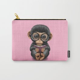 Cute Pink Baby Chimp Reading a Book Carry-All Pouch