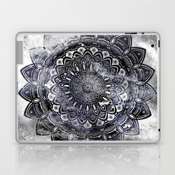 Galaxy Space Mandala (Black and White & Gray Scale) Mystical Adventurous Laptop & iPad Skin