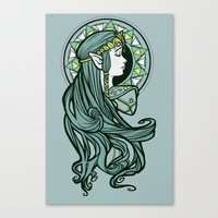 nouveau Canvas Prints featuring Zelda Nouveau by Karen Hallion Illustrations