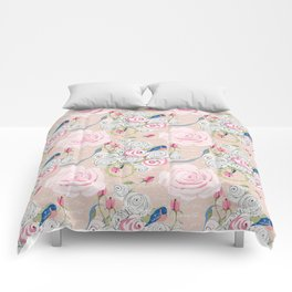 Watercolor Roses and Blush French Script Comforters