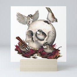 White-throated Sparrows Forage Amongst Human Remains Mini Art Print