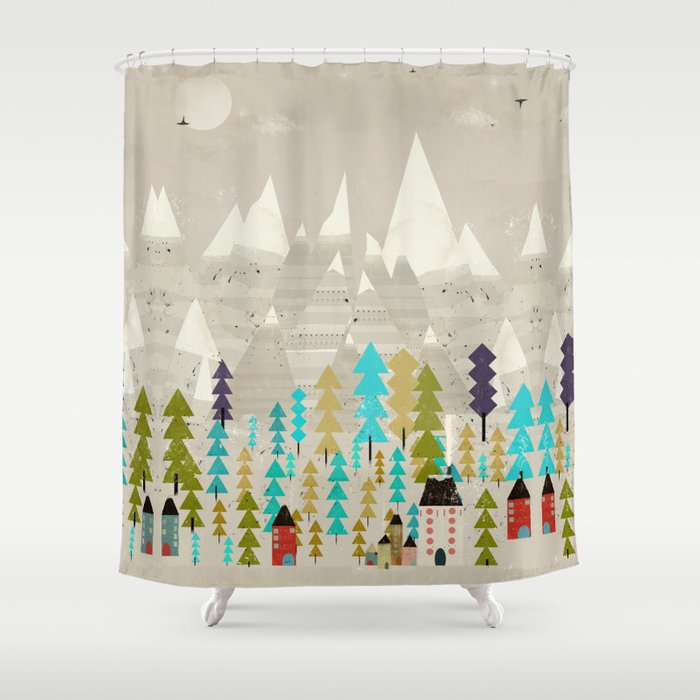 my happy mountains Shower Curtain