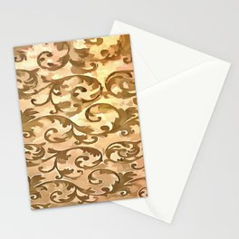Stylized Foliage Leaves In Gold Stationery Cards