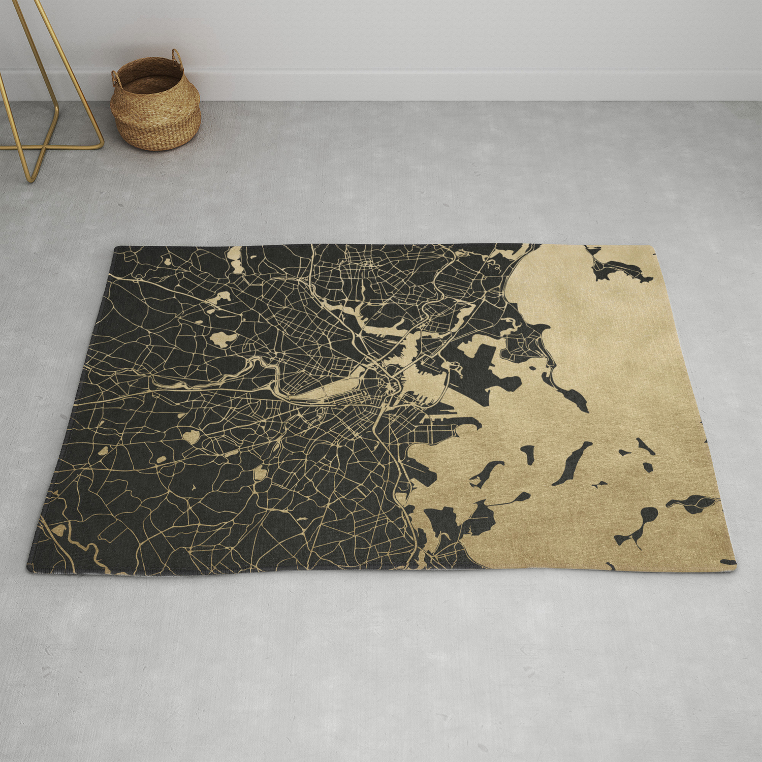 Boston Gold And Black Invert Rug By