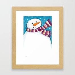 A Friendly Carrot-Nosed Snowman Framed Art Print