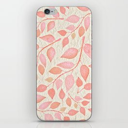 Coral Pink Leaves On Gold iPhone Skin