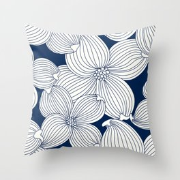 Dogwood Big Linear Floral: Navy Ivory Throw Pillow