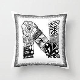 Zentangle N Monogram Alphabet Initials Throw Pillow