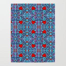 Heart Mosaic Blue Poster