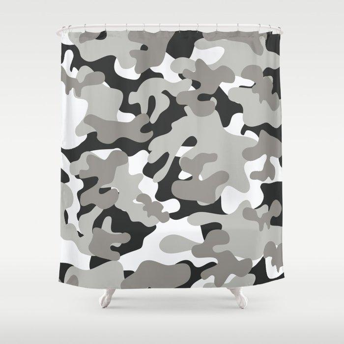 Grey Black White Camouflage Shower Curtain