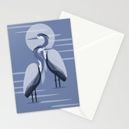 Blue Great Blue Heron Pair Stationery Cards