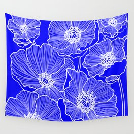 Cobalt Poppies Wall Tapestry