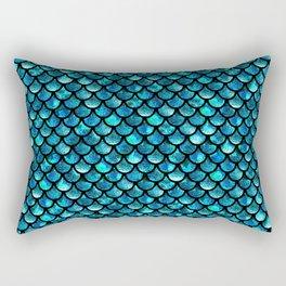 Mermaid Scales - Turquoise Blue Rectangular Pillow