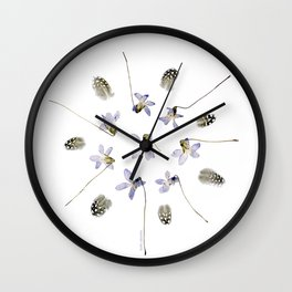 wildflower mandala... purple violets, guinea fowl feathers Wall Clock