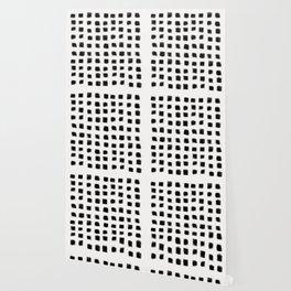 Polka Strokes - Black on Off White Wallpaper