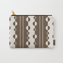 Geometric Circles and Stripes in Brown and Tan Carry-All Pouch