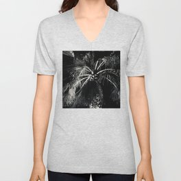 Palm Tree Leaves Wrapped in Romantic Moon Shadows Unisex V-Neck