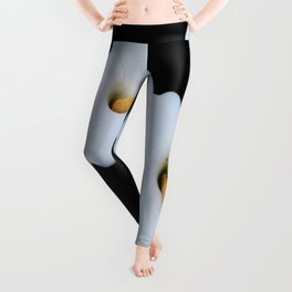 Three Calla Lilies Isolated On A Black Background Leggings
