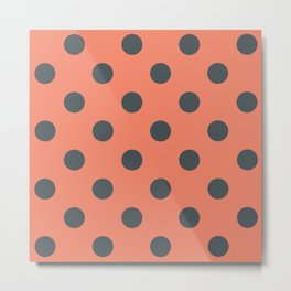 Salmon Pink and Grey Polka Dots Metal Print