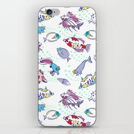 White Seamless pattern  with color fishes iPhone Skin