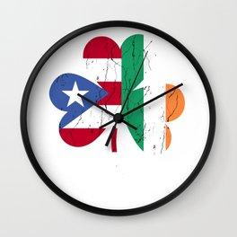 Ireland Irish Puerto Rican St Patrick's Day design Wall Clock
