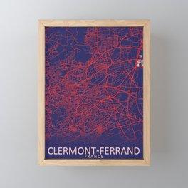 Clermont-Ferrand, France, Blue, White, City, Map Framed Mini Art Print